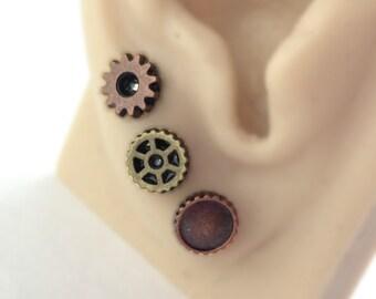 Triple Piercing - Tiny Stud Earring Set -Cartilage Jewelry Set -Steampunk -Multiple Piercing -Double Piercing -6 Three Earring Stud