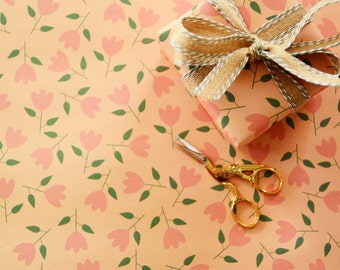 Flower Gift Wrap, Flower Wrapping Paper, Gift Wrap Sheets, Orange Flower Wrap, Floral Wrapping Paper, Floral Gift Wrap, Orange and Pink Wrap