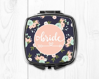 Bride Gift from Maid of Honor Wedding Party Gifts Wedding Party Favors Bride Gift Ideas Bride Compact Mirror Pink Floral Blue nvywed1