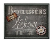 Booleggers Welcome Sign Printable Chalkboard Art ~ Roaring 20s Speakeasy Gangster 1920s Rustic Hand Drawn Print - Wedding Decor 8.5X11 JPG
