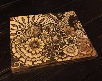 "Pyrography - Wood Burning - Henna Style Flowers Design - 8""x10"" Handmade Wood Burn"