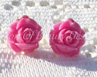 Pink  Rose, Spring Flower Clip On Earrings