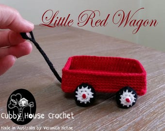 Little Red Wagon. Crochet Pattern Cubby House Crochet by Veronica McRae. Doll patterns not included. Doll patterns available in store.
