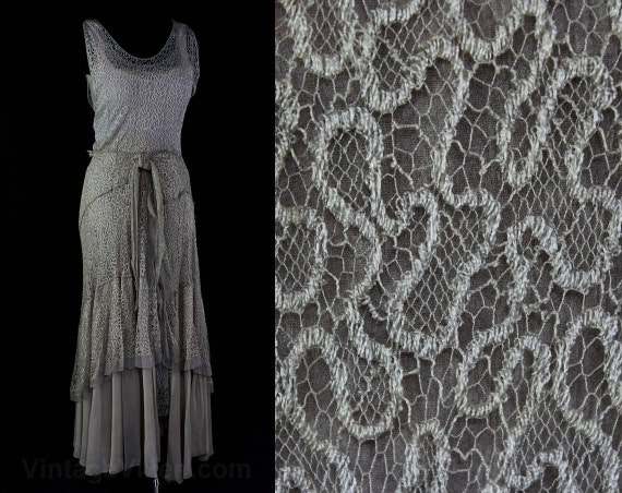 Carroll Lace Dress 31 As Size Chiffon Formal Miss amp; 1930s 45546 Gown Bust Misty Gray Silk Net New 30s Evening Is 0 Pale York q4anx148R