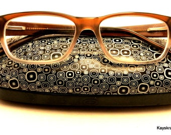 Eyeglasses and Hard Eyeglass Case Light Brown Eyeglasses Retro Case Retro Eyeglasses Vintage Eyeglasses Opticana Glasses