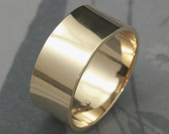 Solid 14K Gold ULTRA Wide 10mm Band-Mens Wedding Band-Flat Edge Modern Wedding Ring--Your Choice of Yellow, Rose or White Gold--Made to Size