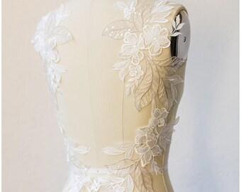 2pc. 3D mirrored Wedding dress appliqué, Large lace Applique, Flower appliqué, large Lace Flower, Illusion Back Lace, Lace patch (A17-046)