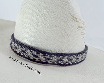 Horsehair hat band, Elegant, Cowboy hat horsehair hat band,  Western hat band, Rodeo, No tassel natural color wider style, Cowboy hat band