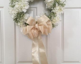 """17"""" Silk Floral Wedding Wreath eith cream bow"""