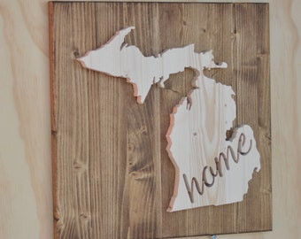 "Michigan State Wood Plaque Cutout ""Home"""