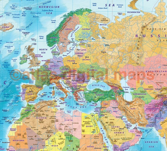 World map canvas political coloured relief with bold text gumiabroncs Gallery