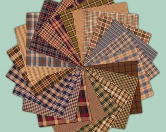 5 inch -- 40 Cozy Homespun Quilt Squares