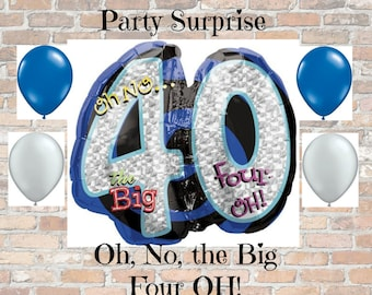 Sale! 40th Birthday Anniversary Balloon Large number 40 balloon holographic