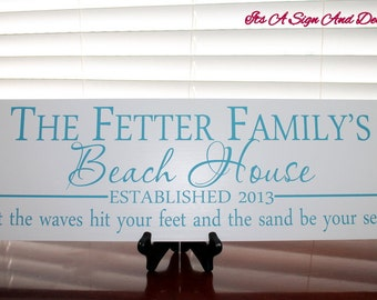 Custom Beach House Sign, Custom Beach Sign, Beach Wedding, Beach Decor in Handmade, Family Name Sign, Personalized Last Name Sign, Est Sign
