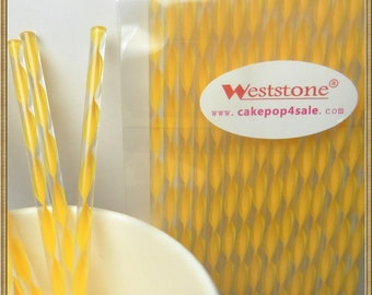 "100pcs 6"" (15cm) Acrylic Sticks For Cake Pops or Lollipop Candy - Yellow Swirl"