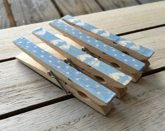 Baby Boy Magnets, Blue Clothespin Magnets, Blue Refrigerator Magnets, New Baby Magnets, Decorated Clothespins, New Parent Gift