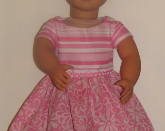 """Pink stripe and flower dress for 18"""" Dolls. Made in USA fits American Girl, Our Generation Dolls"""