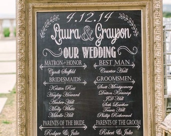 Wedding Program Poster, Bridal Party Sign, Chalkprint Program Sign- Custom Wedding Party Sign (PDF file)