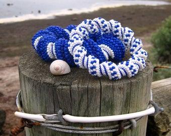 Seed Bead Bracelet Tutorials – Beading Patterns – Cellini Spiral Beaded Bracelet Patterns – Mediterranean Blue White – Peyote Beadwork PDF