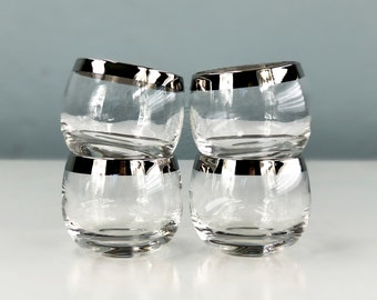 Mid Century Roly Poly Glasses, Mad Men Dorothy Thorpe Style with Silver Rim, Bourbon Glasses, Like New Condition