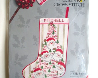Vintage Christmas Stocking Kit // Something Special Counted Cross Stitch // Ho Ho Santa // New in Package