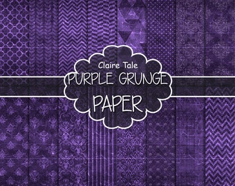 "Purple digital paper: ""PURPLE GRUNGE PAPER"" with chevrons, crosshatch, stripes, damask, polkadot / purple vintage paper / purple shabby chic"