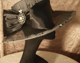 Embroidered Silk Skimmer Hat with Jeweled Brooch