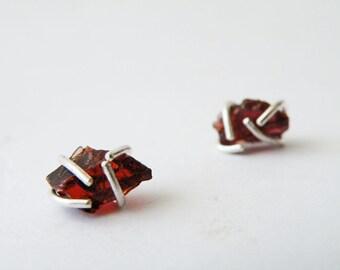 Raw Garnet Earrings Stone Stud Earrings Sterling Silver Zen Jewelry by SteamyLab