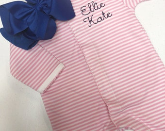 Baby girl coming home outfit, Monogrammed footie, Personalized Baby gift, Monogrammed sleeper, pima cotton, newborn pictures, shower gift