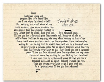 Song lyrics wall decor - Unique Anniversary, Wedding Gift - Customized  heart shaped Wedding present - first year paper anniversary