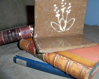 Handmade Stoneware Pottery Bookend Doorstop Brown Floral