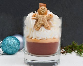Gingerbread Man Candle - Artisan - Handcrafted - Gift - Soy Wax - Gift - Wooden Wick - Whipped - Glass - Christmas -