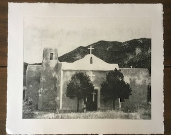 Southwest Art, Etching, Old Adobe Church Etching, New Mexico Art, New Mexico, Etching