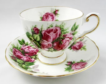Vintage Tuscan Tea Cup and Saucer with Pink Roses, Moss Rose, Fine English Bone China