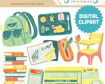 BACK to SCHOOL Digital Clipart Instant Download Illustration Watercolor College Backpack Bus High School First Day Student Class Supplies