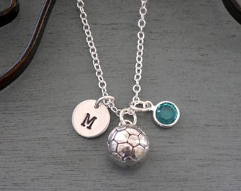 Soccer Ball Necklace, Personalized Soccer Necklace, Silver Soccer Ball Necklace, Initial Necklace,  Soccer Ball Player Gifts, Soccer Gifts