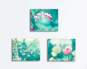 Aqua Nursery Canvas Set of Three, teal pink turquoise 3 floral pictures flower wall art nature photography girls room colorful artwork
