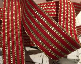 """3 yards 7/8"""" Red and Lurex Metallic Gold Stripe Christmas Grosgrain Ribbon Reversible"""