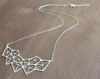 Geometric Diamond Necklace, Gold Statement Jewelry, Geometric Pendant Jewelry, Cool Gold  Necklace, Gift Under 25, Silver Neckla