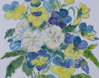 Watercolor painting of Violas