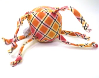 Soft baby toy - ball with sensory strings - Red and Orange Plaid