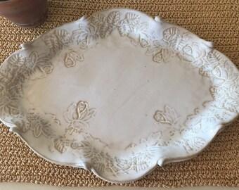 White Floral Platter