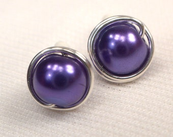 Purple Pearl Post Earrings. Silver Wire Wrapped Post Earrings, Royal Purple Pearl Studs, Purple Bead Ear Studs, Purple Earrings (E238)