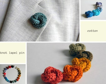 Men lapel pin - Knot stick pin - Cotton boutonniere - Men accessories - Custom lapel pin. 21 colors - 2nd anniversary gift- Promotional item