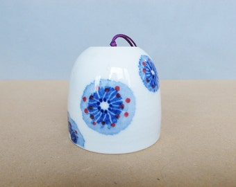 Japanese Vintage Porcelain Wind Bell / wind chime Hand Painted Cobalt blue Abstract Decoration