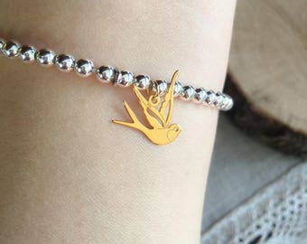 Bracelet entirely in 925 silver with swallow pendant