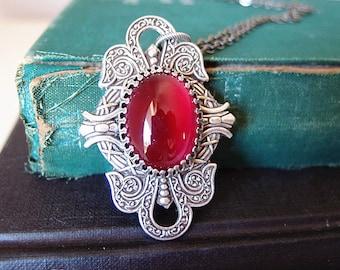 Oleander --- Vintage rose red glass jewel aged brass victorian necklace G051