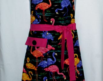 Black Pink Flamingo Apron, Sexy Flirty Plus Size, Custom, Personalized Birthday Gift, For Friend, With First Name, Ships TODAY AGFT 747