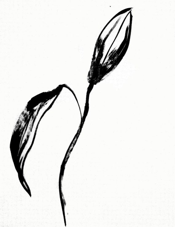 Black Goth Lily Bud 8- original painting by Gretchen Kelly