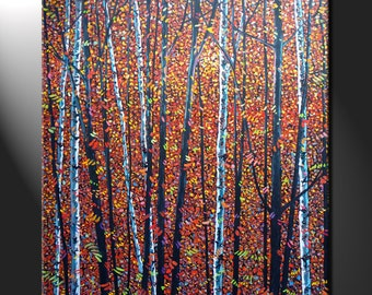 Original Large Oil Painting Canvas Aspen Birches Autumn Colors Forest Trees Art